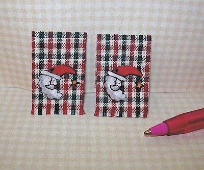 Miniature Christmas Red/Green Kitchen Dish Towels, SANTA MOON:  DOLLHOUSE 1/12