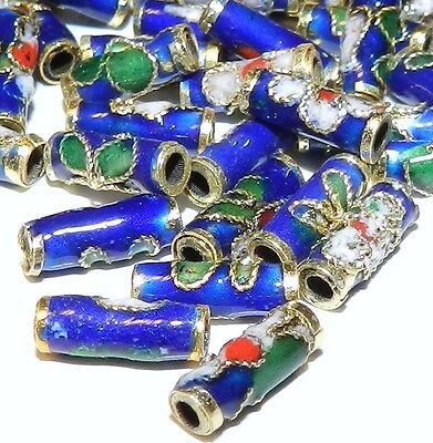 CLXL131L Dark Blue 9mm Round Tube Enamel Overlay on Metal Cloisonne Beads 100/pk