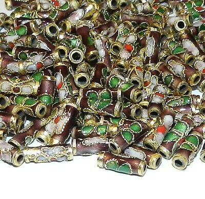 CLXL135L Purple 9mm Round Tube Enamel Overlay on Metal Cloisonne Beads 100/pkg