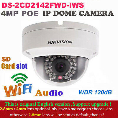 HIKVISION DS-2CD2135F-IWS HD 1080P POE 3MP 2.8mm IR Dome Network IP Camera NEW