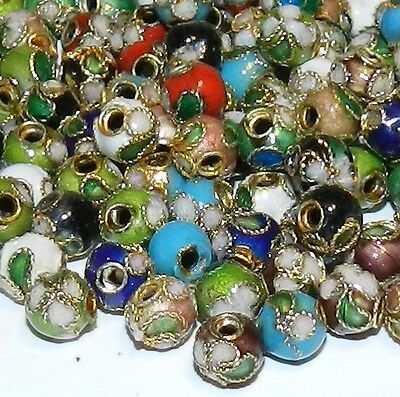 CLX111K Assorted Color 6mm Round Enamel Overlay on Metal Cloisonne Beads 100/pkg