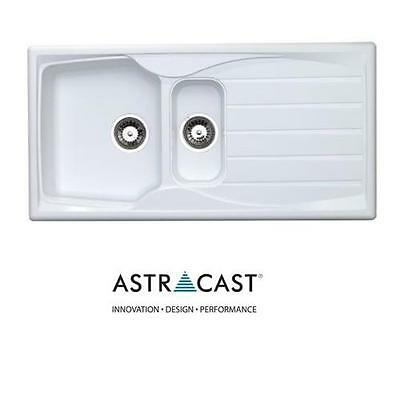 Astracast Sierra 1.5 Bowl  Reversible White Kitchen Sink Including Waste