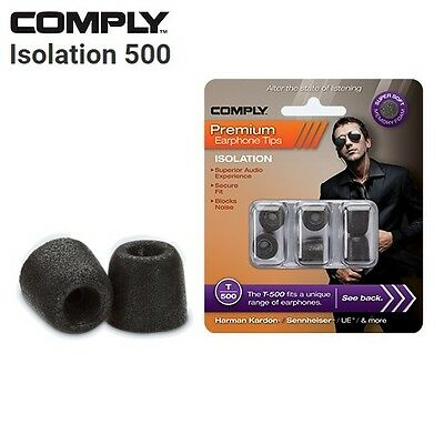Comply Foam T-500 Isolation 3 Pairs In-Ear Earphone Tips Medium Black MP