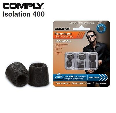 Comply Foam T-400 Isolation 3 Pairs In-Ear Earphone Tips Medium Black MP