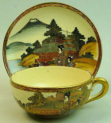 Antique Japanese Satsuma Meiji Period Pottery Cup & Saucer C.1900