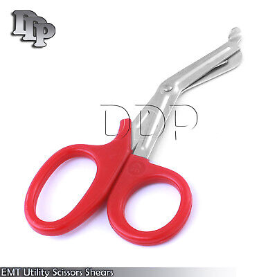 """100 Pieces EMT Utility Scissors Shears 5.5"""" Red Colored"""