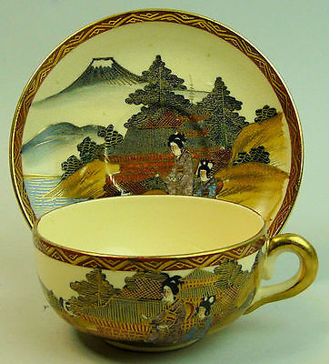 Japanese Antique Meiji Period Pottery Cup & Saucer C.1900