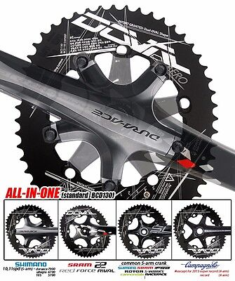 2016New DOVAL Chainring set BCD130 MGLR ALL-in-one(11.7,13.5,16%) Black