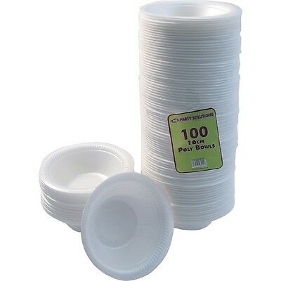 100 x FOAM BOWLS 12oz 16cm POLYSTYRENE WHITE DISPOSABLE LARGE BOWLS CATERING