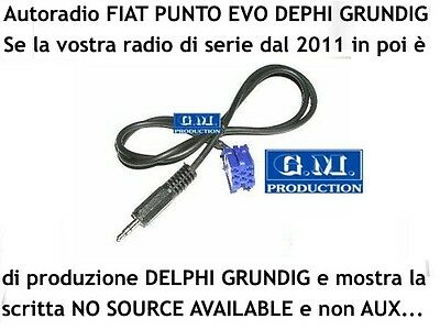 "Cavo Aux MP3 FIAT Panda Punto EVO 150 ""NO SOURCE AVAILABLE"" 1,4M Grundig Delphi"