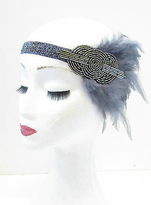 Dark Silver Grey Feather Headband 1920s Headdress Flapper Great Gatsby Vtg V14