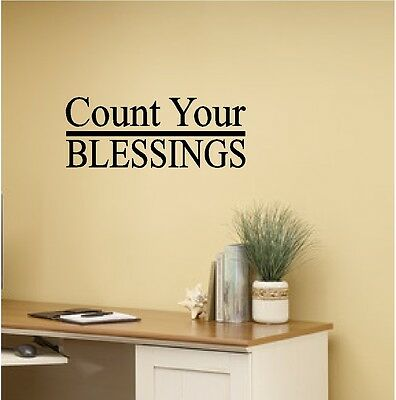 """/""""Count Your Blessings Not Problems/"""" Vinyl Decal Sticker Car Window Wall Bumper"""