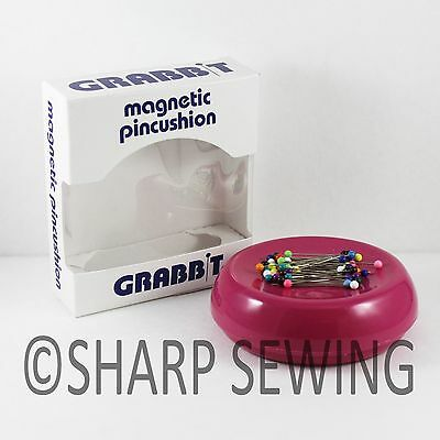 Grabbit Raspberry Magnetic Sewing Pin Cushion Holder + 50 Pins Quilting
