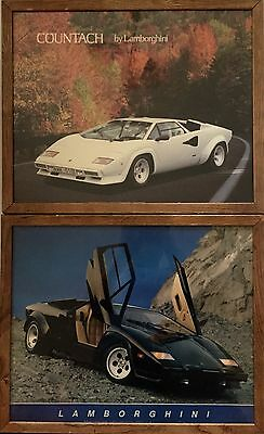 2 Vintage 1986 Countach Lamborghini Framed Posters: Saint Chateaux Galleries