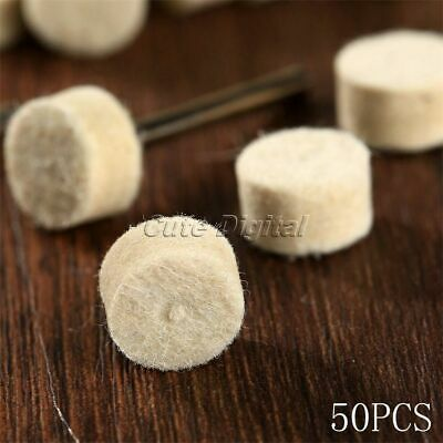 50pcs 13mm Wool Felt Polishing Buffing Pad Round Power Grinding Wheel & 2 Shank
