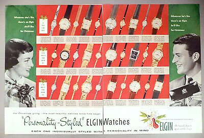 Elgin Watch 2-Page PRINT AD - 1957 ~~ watches, wristwatch, Christmas gift