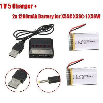 2pcs 1200mAh Lipo Battery+5 In 1 Charger For Syma X5SW X5SC Quadcopter Dron