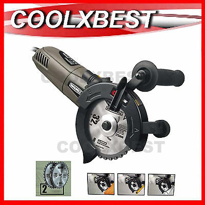 NEW 1050w 125mm DUAL BLADE TWIN CUTTER CIRCULAR SAW WOOD METAL PLASTIC