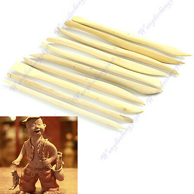 10 pcs Wood Wooden Clay Modeling Tools Set Polymer Clay Tools Sculpting DIY