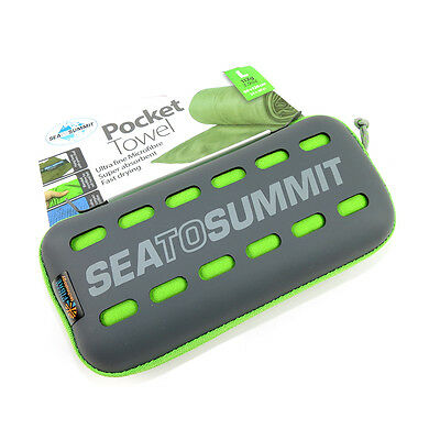 Sea to Summit Pocket Towel Compact Quick Dry for Camping Hiking Sport - Lime