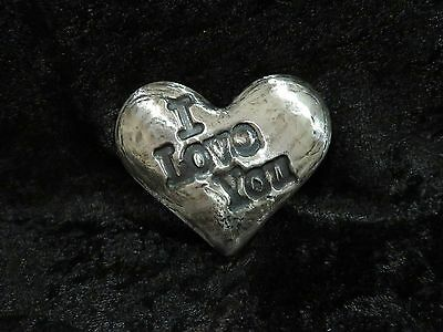 """4.5 Ozt MK BARZ  """"I Love You"""" Heart .999 Fine Silver HAND POURED"""