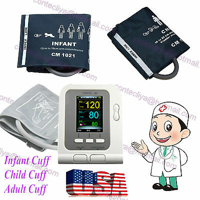 US Seller,Digital Blood Pressure Monitor,CONTEC08A Color LCD Display 3 free cuff