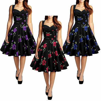 Women's Ladys Vintage Style 1950's Floral Rockabilly Evening Party Swing Dress