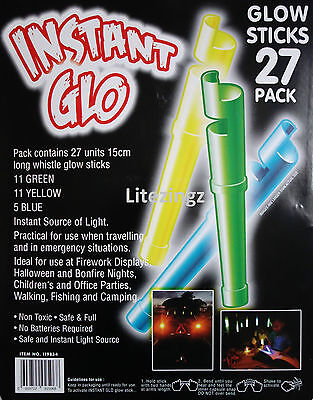 NEW 27 PACK INSTANT GLOW STICK with WHISTLE.15cm LONG. EMERGENCY, PARTY BAGS GLO