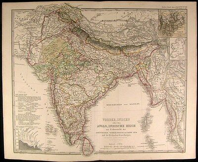 Hindustan India British Anglo-Indian Empire Burma Siam 1857 scarce antique map