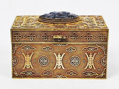 Antique Chinese Export Gilt Silver Jewelery Box With Gem Stone China