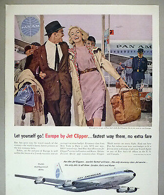 Pan Am Jet Clipper PRINT AD - 1959 ~~ Pan American Airline