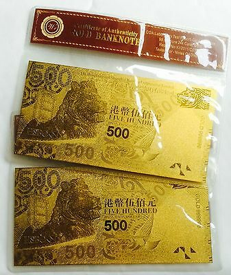 2 x Rare Hong Kong Finished In 24k Gold Bank Note $500 Five Hundred Dollars x2pc