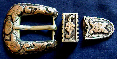 Mexico, Sterling Silver, Gold, Lady's 3 Piece Vintage Ranger Set