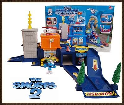 The Smurfs Police Station Play Set Pull Back Car + Helicopter Kid Toy Xmas Gift