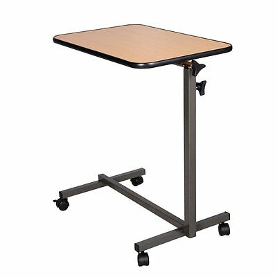 Laptop Food Tray Overbed Table Rolling Desk Hospital Over Bed With Tilting Top