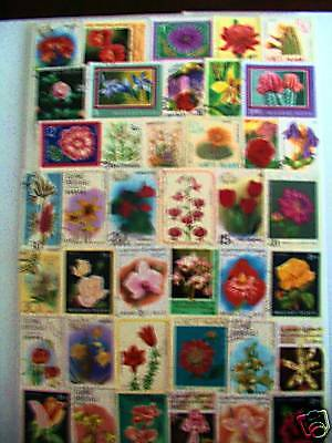 Timbres Fleurs : 200 Timbres Tous Differents / Flowers Stamps