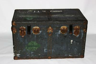Antique Leather And Metal Bound Steamer Trunk Chest - FREE Delivery [PL1848]