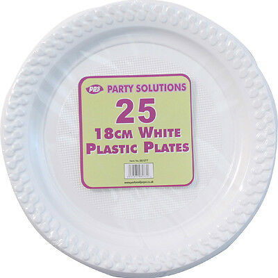 20 x WHITE PLASTIC PLATES 18cm WEDDING BIRTHDAY TABLEWARE PARTY DISPOSABLES NEW