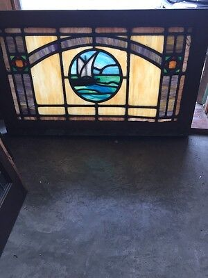 Sg 395 Antique Stainglass Sailboat Window Rudy Brothers