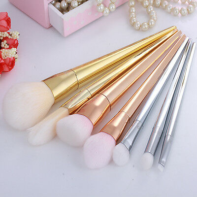 New Techniques Makeup Brushes Bold Design Metal Handle Real Bargain 7 Pcs RT Set