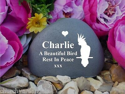 Personalised Pet Memorial Pebble (Stone Effect) Birds - Weatherproof