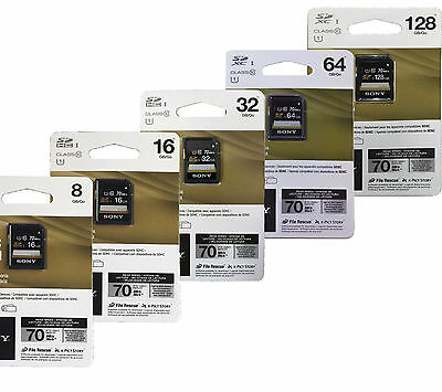 Sony Class 10 SDHC Fast 70MBs UHS-1 SDXC Memory Card for DSLR Digital Cameras