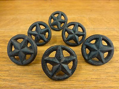 6 BROWN RUSTIC STAR DRAWER DOOR PULLS KNOBS CAST IRON CABINET HARDWARE western