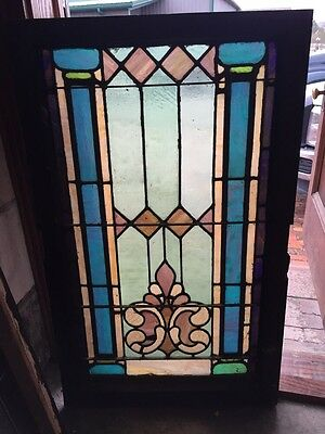 """Sg 403 Antique Stainglass Landing Window 27 In 0.125"""" X 44.5"""" Tall"""