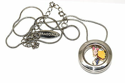 Bracciale Disney Round Locket Necklace Floating Pooh Piglet Floating Charms