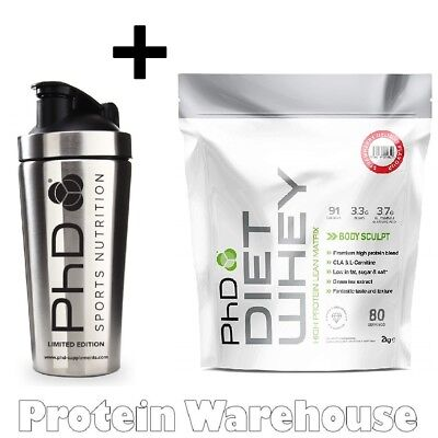PhD Nutrition Diet Whey 2kg Diet Protein Weight Loss + Stainless Steel Shaker