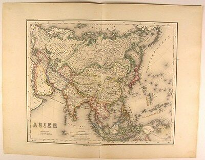Colonial Powers map 1873 Asia Arabia Iran India China Russia Japan antique Meyer