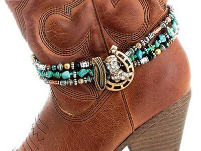 Western Cowgirl Jewelry Antique Bronze Horseshoe Faux Turquoise Boot Bracelet