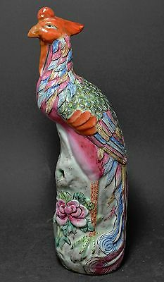 Antique Chinese Famille Rose Porcelain Phoenix Bird ~ 10''~