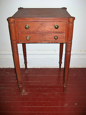 Antique Two Drawer Sheraton Nightstand in Original Old Red Paint Circa 1810